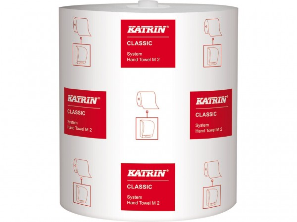 Handtuchrollen Katrin Classic System M2 Tissue weiss, 2-lagig, 21cm x 160 lfm