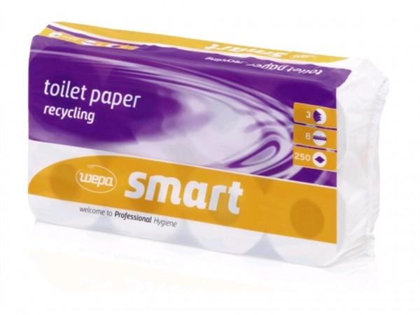 WC-Papier Smart 100% Recycling, 3-lagig hochweiss, 250 Blatt