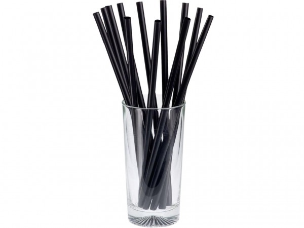 BIO-Trinkhalme gerade, Jumbo ø 7 mm, 135 mm Länge, schwarz