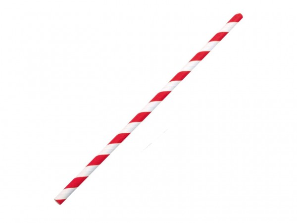 Papiertrinkhalme gerade ø 6 mm, Länge 195 mm, rot