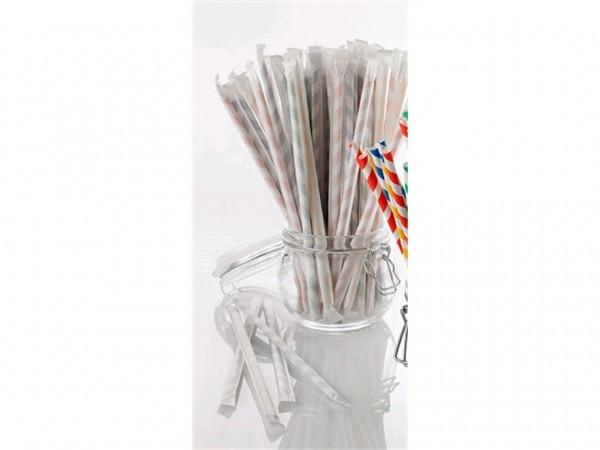 Papiertrinkhalme gerade ø 6 mm, Länge 210 mm, gemischte Farben (gehülst)