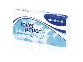 WC-Papier Tissue 3-lagig 100% Zellstoff hochweiss, 250 Blatt (9.5 x 13.8 cm)