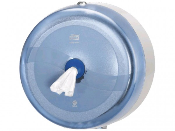 Toilettenpapierspender Tork Smart One, Wave blau, Einzelblatt