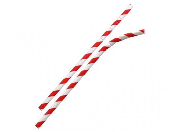 Papiertrinkhalme mit Knick ø 6 mm, Länge 195 mm, rot/weiss