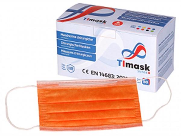 Mundschutzmasken 3-lagig orange, Typ IIR, 50 Stck