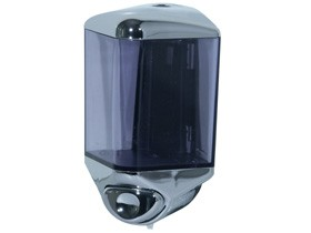 Flüssigseifen-Spender aus Kunststoff chrom/transparent, 115 x 170 x 90 mm,