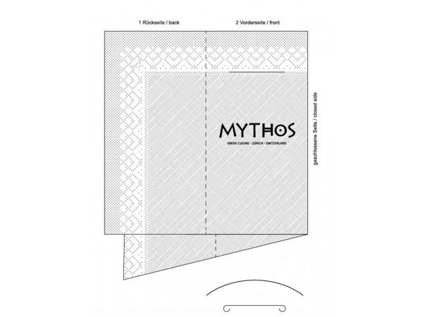 Bestecktasche Tissue Deluxe 4-lagig 1/8 Falz, 40 x 40 cm, weiss, Druck: