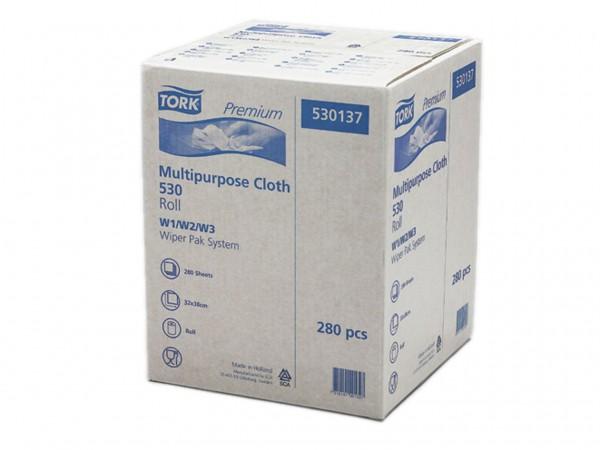 Putztuchrollen Tork Premium 530, Vlies- stoff weiss, 32 x 38 cm, 280 Tücher,