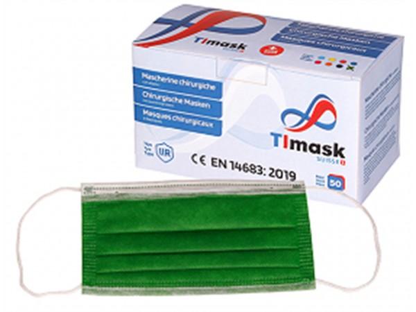 Mundschutzmasken 3-lagig grün, Typ IIR, 50 Stck