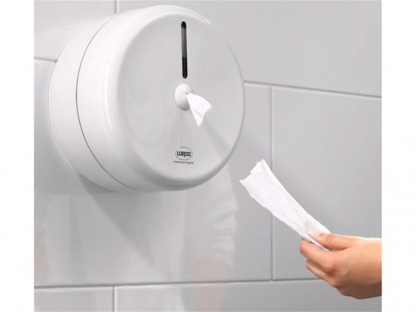 Jumbo-Toilettenpapier-Spender Centerfeed weiss, 245 x 245 x 155 mm