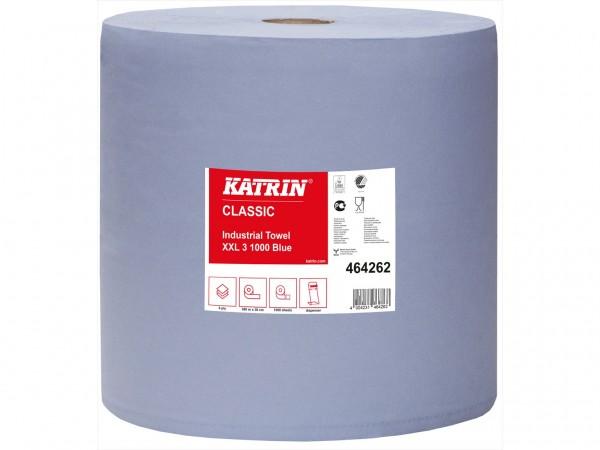 Putztuchrollen Katrin XXL3 blau, 3-lagig 38 x 38 cm, geprägt, 380 lfm, perforiert