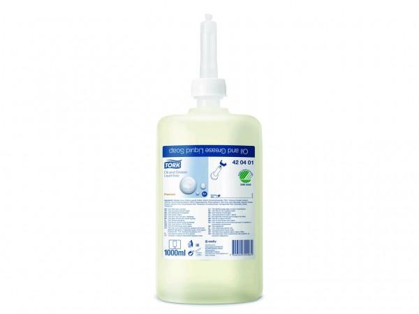 Flüssigseife Tork Premium, 1 Liter Flasche, weiss, fettlösend, unparfümiert