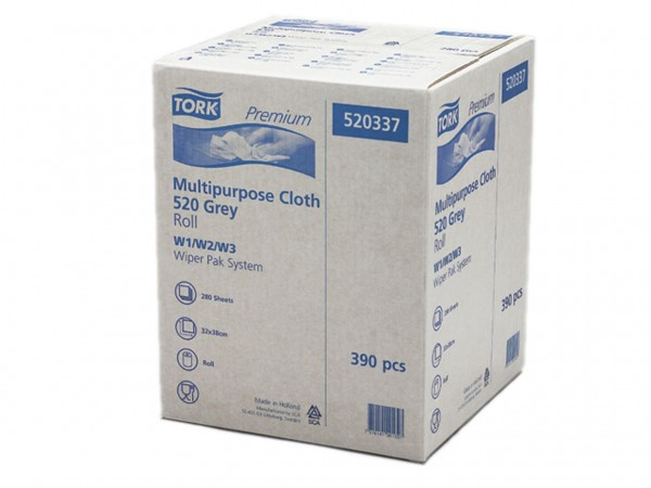 Putztuchrollen Tork Premium 520, Vlies- stoff grau, 390 Blatt, 32 x 38 cm, saug-