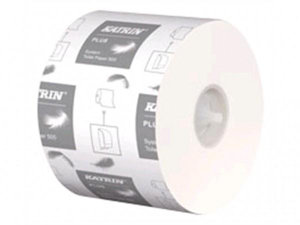 WC-Papier Katrin Plus Toilet 500 Tissue 3-lagig, weiss, 500 Blatt (9.9 x 12 cm),