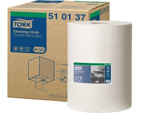 Putztuchrollen Tork Premium 510, Vlies- stoff weiss, 1-lagig, Blatt 32 x 38 cm,