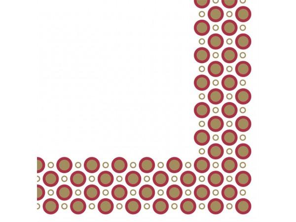 """Servietten Airlaid 60 gm2, 40 x 40 cm 1/4 Falz,""""Art-Deco-Circles"""",gold/bordeau"""