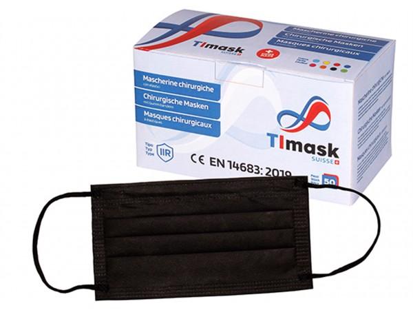 Mundschutzmasken 3-lagig schwarz, Typ IIR, 50 Stck
