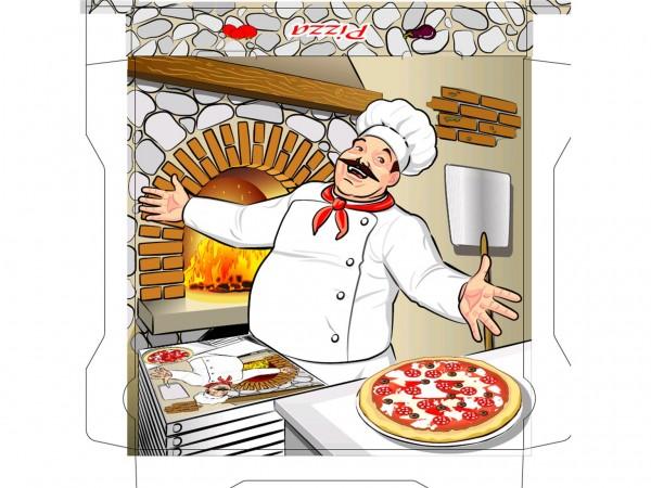 Pizzakarton 33 x 33 x 4 cm Qualität Kraft 1209, Neutraldruck
