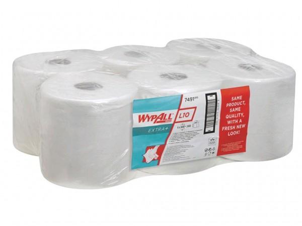 Putztuchrollen Wypall L10 weiss 1-lagig 18.5 x 38 cm, 100% Zellstoff, 400 Tücher