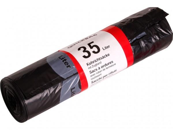 Abfallsack Quick-Bag 35Lt. neutral opak 555 x 600 + 60 mm, mit weissem Zugband