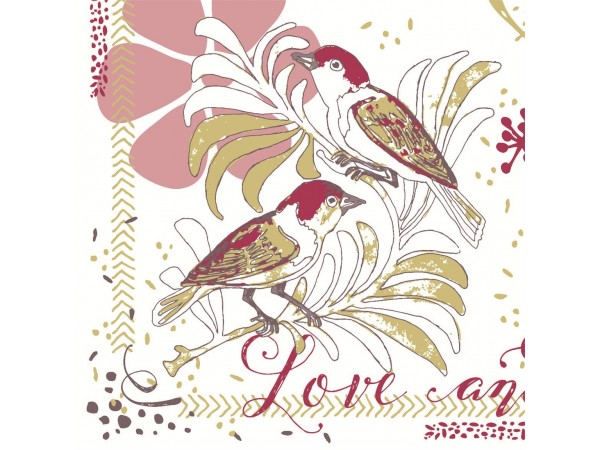 "Servietten Airlaid 60 gm2, 40 x 40 cm 1/4 Falz, ""Love & Birds (bordeaux)"""