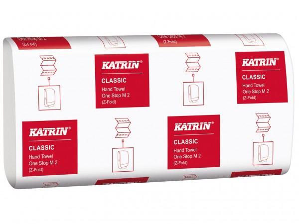 Falthandtücher Katrin Classic One Stop W-Falz, 2-lagig, 23.5 x 25 cm, weiss