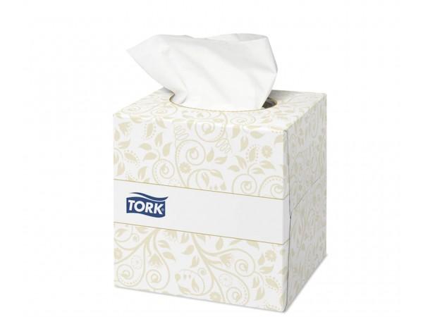 Kosmetiktücher Tork Premium extra weich weiss, 2-lagig, Zellstoff, Würfelbox
