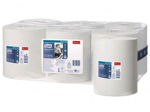 Putztuchrollen Tork Advanced 415, Tissue hochweiss, 1-lagig, 21.5 cm x 275 lfm,
