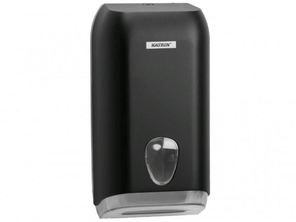 Einzelblatt WC-Papier Spender Katrin, Kunststoff schwarz, 158 x 307 x 133 mm